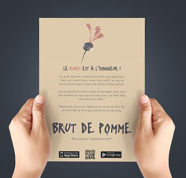 """Flyer """"Le radis est à l'honneur"""" pour promouvoir l'application Brut de Pomme"""