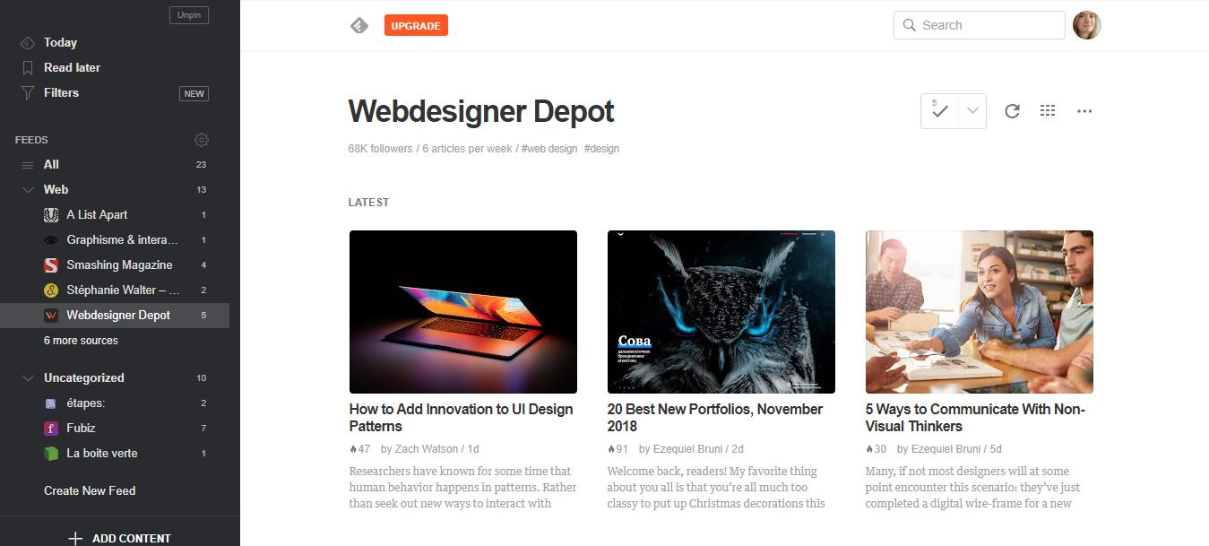 Aperçu du flux RSS du site Webdesigner Depot avec affichage magazine