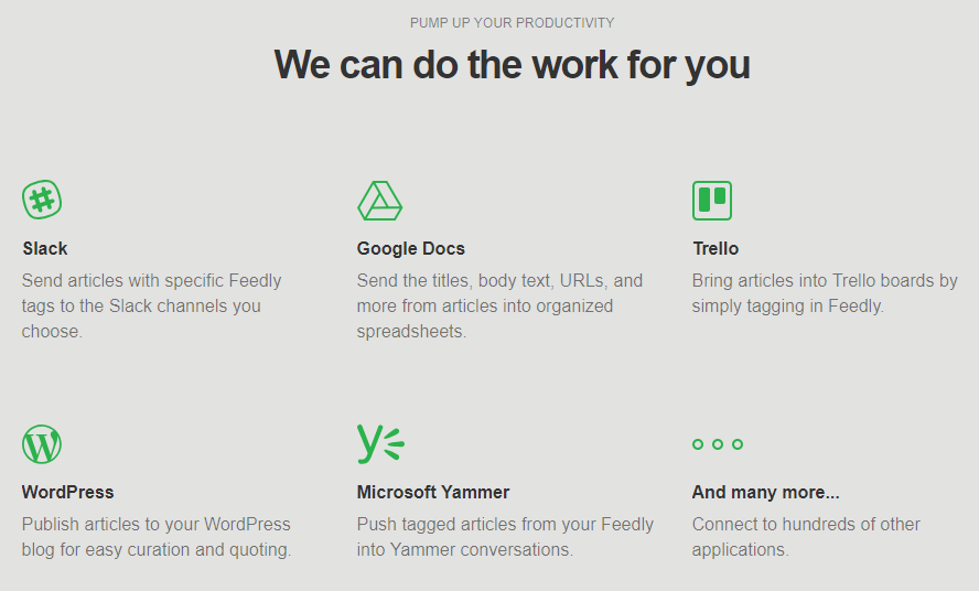 Intégrations possibles avec Feedly