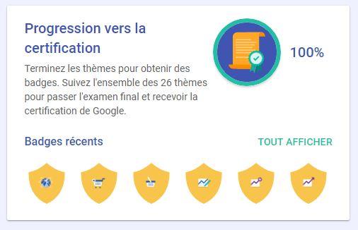 Gamification de la formation avec des badges correspondant aux 26 thèmes