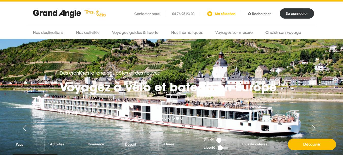 Page d'accueil de l'agence de voyages Grand Angle